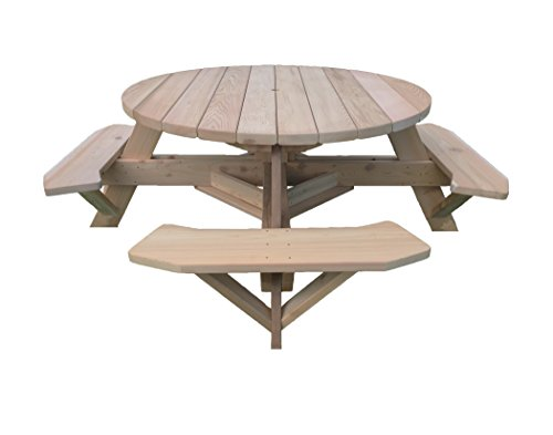 Western Red Cedar 56' Round Top Picnic Table w/Easy Seating
