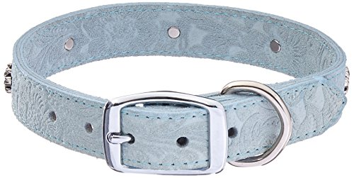 OmniPet Signature Leather Suede Dog Collar with Paw Ornaments, 1