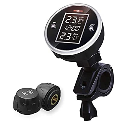 "SYKIK Rider SRTP340 Wireless tire Pressure Monitoring System and Clock for  Motorcycles with 1 5"" Monitor  Check Your tire Pressure While Riding"