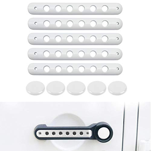 - Grab Handle Inserts Cover+Push Button Knobs Cover Trim for 2007-2018 Jeep Wrangler JK & Unlimited 5PCS WHITE