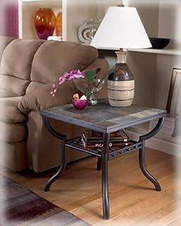 Wonderful Ashley Furniture Signature Design   Antigo Living Room End Table   Slated  Top With Metal Bottom