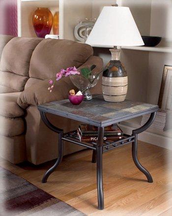 Ashley Furniture Signature Design   Antigo Living Room End Table   Slated  Top With Metal Bottom Part 21