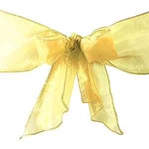 LA Linen Organza Sashes Chair Bows (Pack of 25), Gold