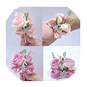 Fat BABSilk Ribbon Blush Pink Purple Rose Corsage Flowers Groom Suit Men Boutonniere Bride Wedding corsages D41 34