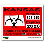 Kansas KS Zombie Hunting License Permit Red - Biohazard Response Team - Window Bumper Locker Sticker