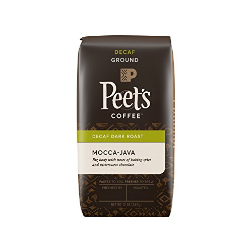 Peet's Coffee, Decaf Mocca-Java, Dark Roast, Ground Coffee, 12 oz. Bag, Decaffeinated Coffee, Well-Rounded, Complex, & Chocolaty Dark Roast Blend of Java & Ethiopian Mocca, with Sweet Hints