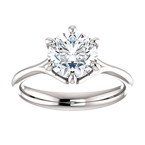 Forever One Moissanite Near Colorless Solitaire Engagement Ring in 14k White or Yellow Gold ( Charles & Colvard)