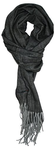Ted and Jack - Timeless Cashmere Feel Herringbone Pattern Scarf (Charcoal with Grey Fringe)