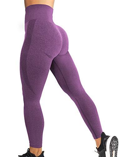 YEOREO Women High Waist Workout Gym Smile Contour Seamless Leggings Yoga Pants Tights Purple L