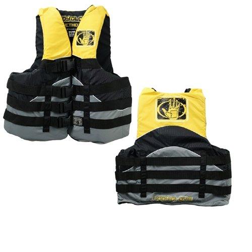 Vest Nylon Body Glove - Body Glove Method USCG Approved Nylon Life Vest, X-Small, Black/Yellow/Silver/Grey