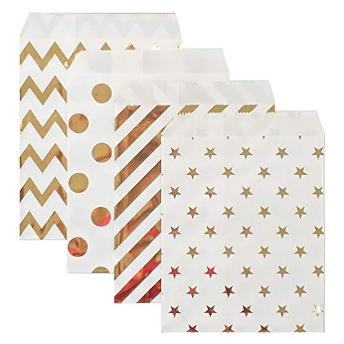 KEYYOOMY 100 Pcs Gold Candy Buffet Bags Small Polka Dot Paper Treat Bags (Bright Gold, 5 inch X 7 inch)]()