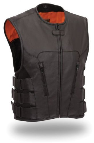 Mens Leather Swat Team Style Motorcycle Biker Vest Bullet (6XL 64