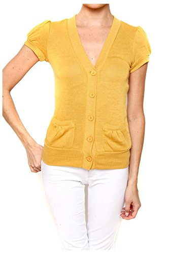 G2 Chic Women's Lightweight Solid Button Down Cardigan(TOP-CGN,MSD-S)