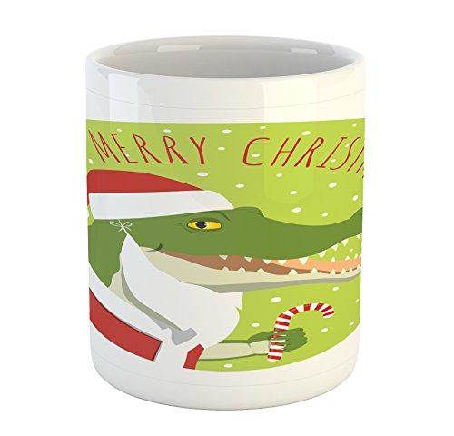 Lunarable Alligator Mug, Smiling Crocodile in a Santa Claus