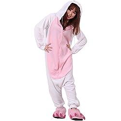 Yimidear® Unisex Cálido Pijama Animales Traje Disfraz Cosplay Ropa de dormir Kigurumi Onesie Halloween y Navidad (M, Conejo Blanco)