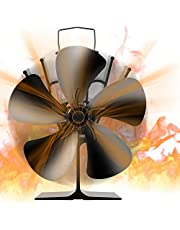 Fireplace Fans, JKUNDA 5 Blades Heat Powered Stove Fan, Wood Stove Fans for Stoves & Fireplaces Silent Heat Powered Fireplace Fan,No Electricity Required for Wood/Log Burner/Fireplace Efficient Heat Distribution Fan