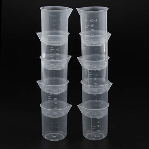 B Baosity 20 Stücke 50ml Transparent Messbecher Messkanne aus Kunststoff für Küche Labor