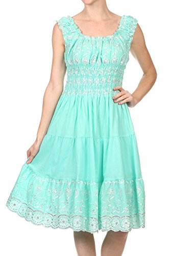 Sakkas 2059 - Women's Gwendolyn Sequin Embroidered Smocked Bodice Peasant Dress - Seafoam - - Embroidered Green Sea Top