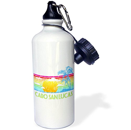3dRose MacDonald Creative Studios – Cabo - Vintage Cabo San Lucas tropical sunset and palm tree - 21 oz Sports Water Bottle (wb_281502_1) by 3dRose