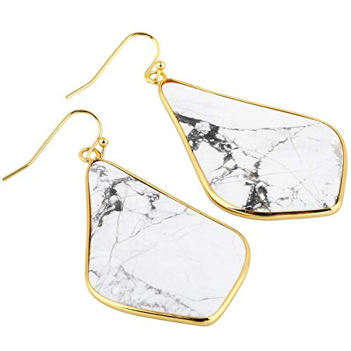 TUMBEELLUWA Crystal Quartz Stone Dangle Hook Earrings Rhombus Shape Gold Plated,White Howlite Turquoise -