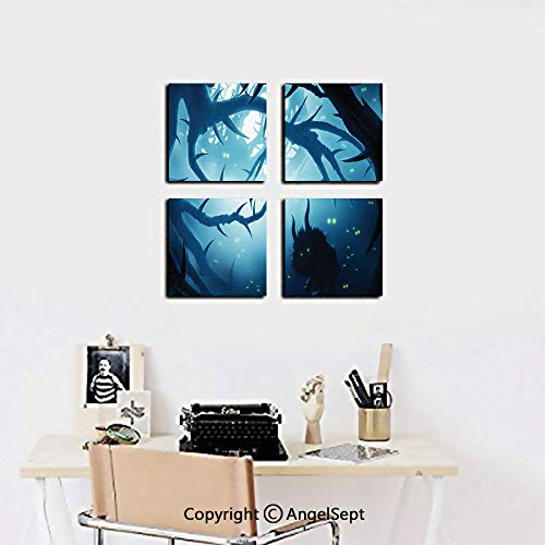 AngelSept 4 Piece Canvas Wall Art,Animal with Burning Eyes in Dark Forest at Night Horror Halloween Illustration,12