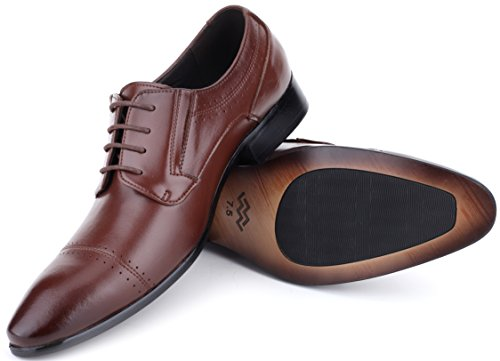 Sienna Saddle Leather (Mio Marino Mens Shoes, Oxford Dress Shoes, Genuine Leather in a Shoe Bag - Burnt Sienna - Cap Toe - 8 D (M) US)