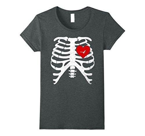 [Womens Skeleton Rib Cage T-Shirt Halloween Costume with ROADRUNNER Medium Dark Heather] (Female Roadrunner Costume)