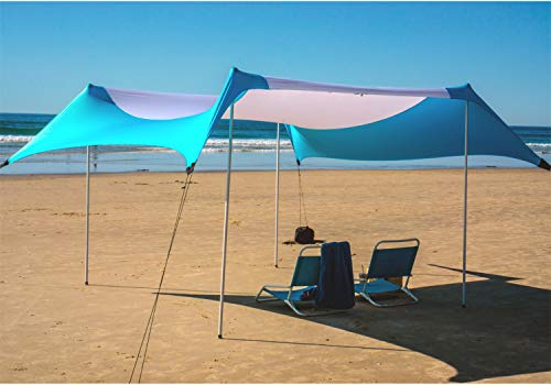 Fofana Cabana Beach Tent Sun Shelter Pop Up – 10×10 Foot Extra Large Family Size Beach Canopy | Beach Umbrella with Sand Anchor | UV Protection UPF50 | Windproof Portable Travel Lycra Sunshade Shade