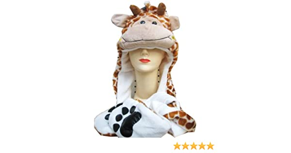 Amazon.com  Plush Giraffe Animal Hat - Giraffe Hat with Ear Flaps and Hand  Pockets  Toys   Games 0087d9be2aa