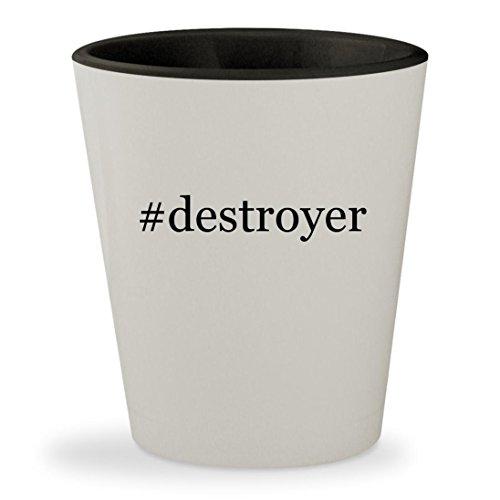 #destroyer - Hashtag White Outer & Black Inner Ceramic 1.5oz Shot Glass (Forum Destroyer)