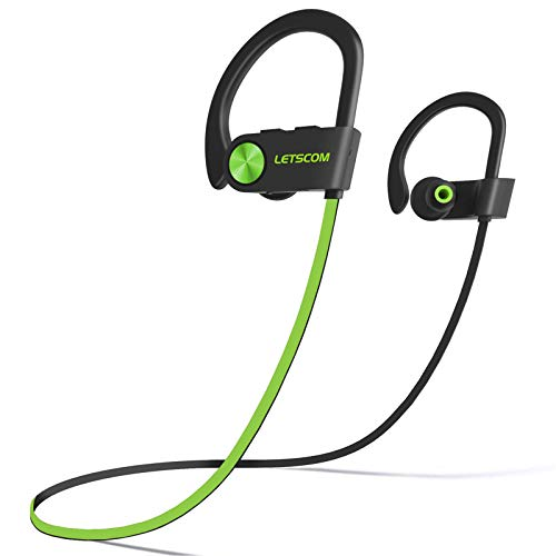 LETSCOM Bluetooth Headphones V5.0 IPX7 Waterproof, Wireless Sport Earphones, HiFi Bass Stereo Sweatproof Earbuds W/Mic, Noise Cancelling Headset for Workout, Running, Gym, 8 Hours Play time