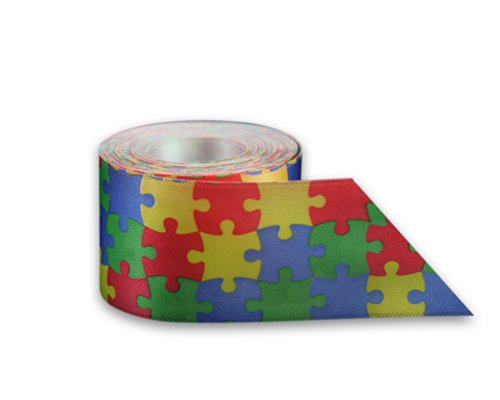 Autism Awareness Satin Puzzle Piece Ribbon by The Yard (10 Yards) -
