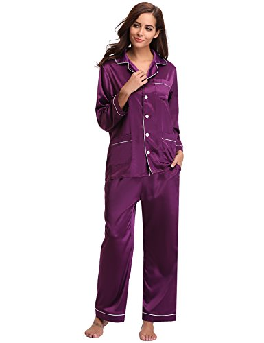 (Aibrou Women's Satin Pajamas Set Long Sleeve and Long Button-Down Sleepwear Loungewear,Dark Purple,Small)