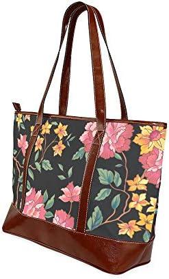 QIAOLII Art Rose Daisy aquarelle peinture plage fourre-tout sac fourre-tout sacs grande capacité imprimé femme sac à main avec fermeture à glissière poignée supérieure