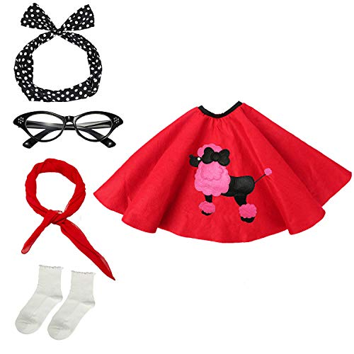 50s Womens Costume Accessory Set - Poodle Skirt, Bandana Tie Headband,Chiffon Scarf, Cat Eye Glasses,Bobby Socks,Red
