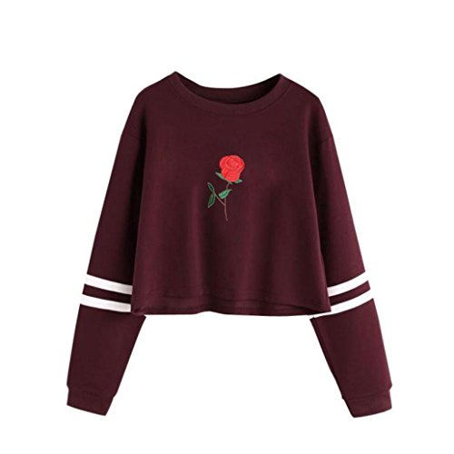 Ouneed Mujer bordado suéter de manga larga sudadera informal Rojo