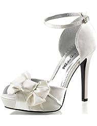 Summitfashions Womens Single Strap Heels DOrsay Pump Peep Toe Shoes Satin Bow 4 3/4 inch Heel