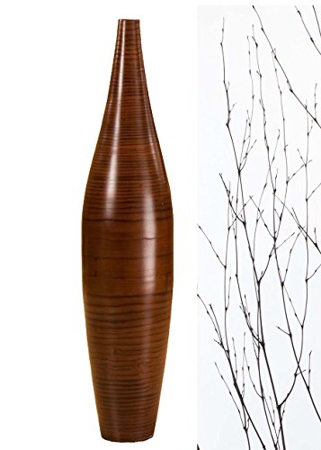 GreenFloralCrafts 30 in. Ellipse Bamboo Tall Floor Vase - Cocoa Brown and DIY Bamboo Branches (Vases Bamboo Round)