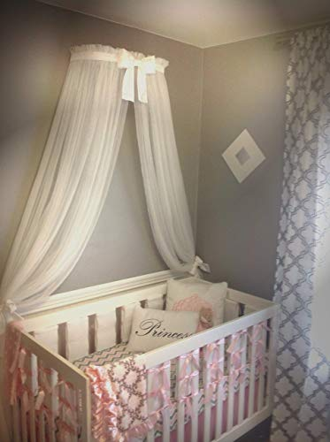 Princess Bed canopy CrOwN FrEe White Sheer curtain Bow cornice coronet teester Nursery Crib custom design So Zoey Boutique - Antique Princess Bed