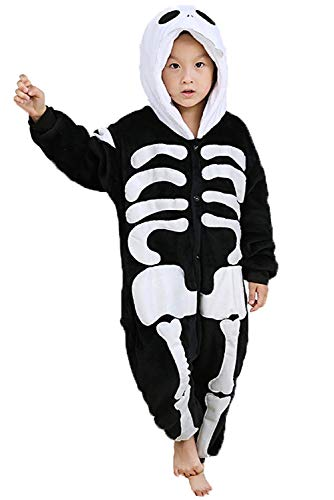 Preferhouse Kids Halloween Costume Child Skull Skeleton Pajamas Onesie Cosplay XX-Large -