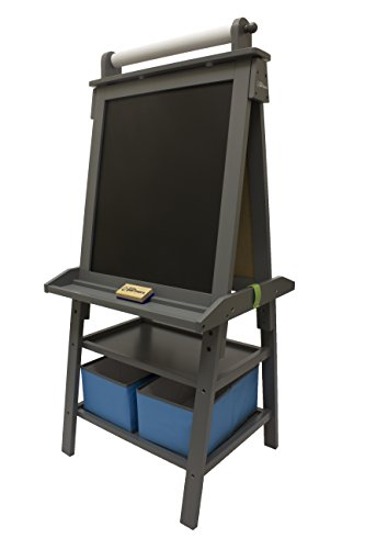 Little Partners 2-Sided A-Frame Art Easel with Chalk Board, Magnetic Dry Erase, Storage, Paper Feed and Accessories for Toddlers, Earl Grey by Little Partners
