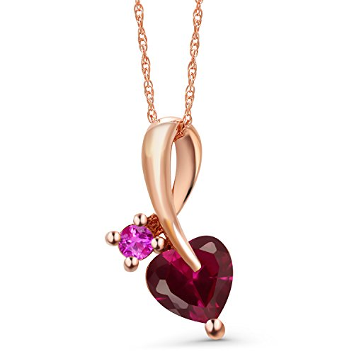 Gem Stone King 1.09 Ct Heart Shape Red Created Ruby Pink Sapphire 10K Rose Gold Pendant