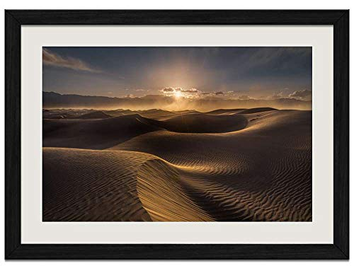 Desert Dune Wind Clouds Sunset - Art Prints Wall Wood Frames Posters Framed Picture Home Décor(16x12inch Black Frame)