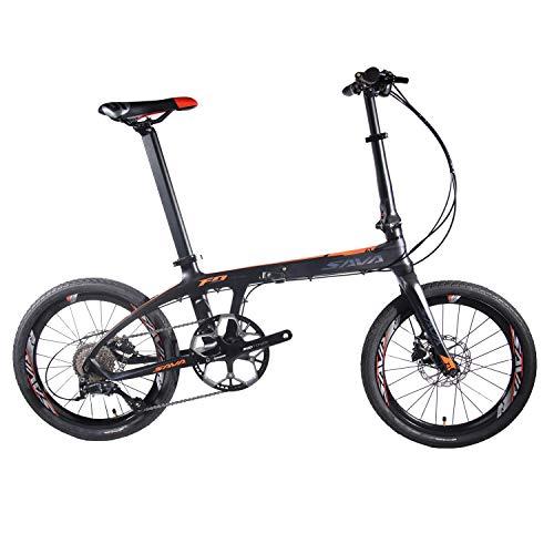 SAVADECK Folding Bike, 20 inch Carbon Fiber Frame Portable Folding Bikes Mini City Foldable Bicycle with Shimano SORA 9 Speed and Hydraulic Disc Brake (Black Orange)