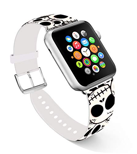 Band for iWatch 42mm Series 3/2/1 and 44mm,Ecute Replacement Band Leather Iwatch Strap Compatible for Apple Watch 44mm Series 4 42mm Series 3/2/1 - Lovely Skull