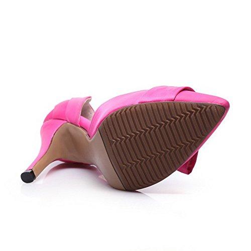 Allhqfashion Para Mujer De Satén Sólido De Tacón Alto Con Punta Cerrada Sandalias Pull-on Rosered