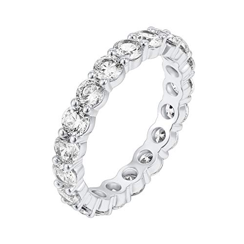 PAVOI 14K White Gold Plated Cubic Zirconia Rings | 3.0mm Eternity Bands | White Gold Rings for Women Size 7 ()