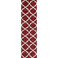 Momeni Rugs BLISSBS-26RED2380 Bliss Collection, Hand Carved & Tufted Contemporary Area Rug, 23 x 83 Runner, Red