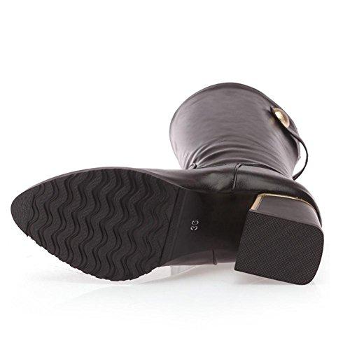 rojo hebilla blanco metal de 39 punta cinturón talón de Black del temporadas tambor antideslizante Marrón de caucho desgaste botas la Negro XIAOGANG grueso medio H HCuatro mujeres 0vIIPw