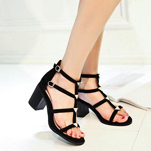 Abierta Ankle SU COOLCEPT Bombas Tacon Punta Wrap Moda Ancho Sandalias Zapatos Negro Mujer Zapato FFxqvr7E